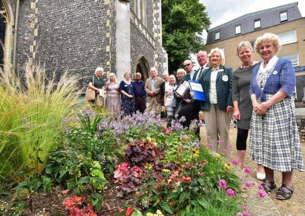 Members and judges of Norwich and Anglia in Bloom pictured in St Stephens Church gardens